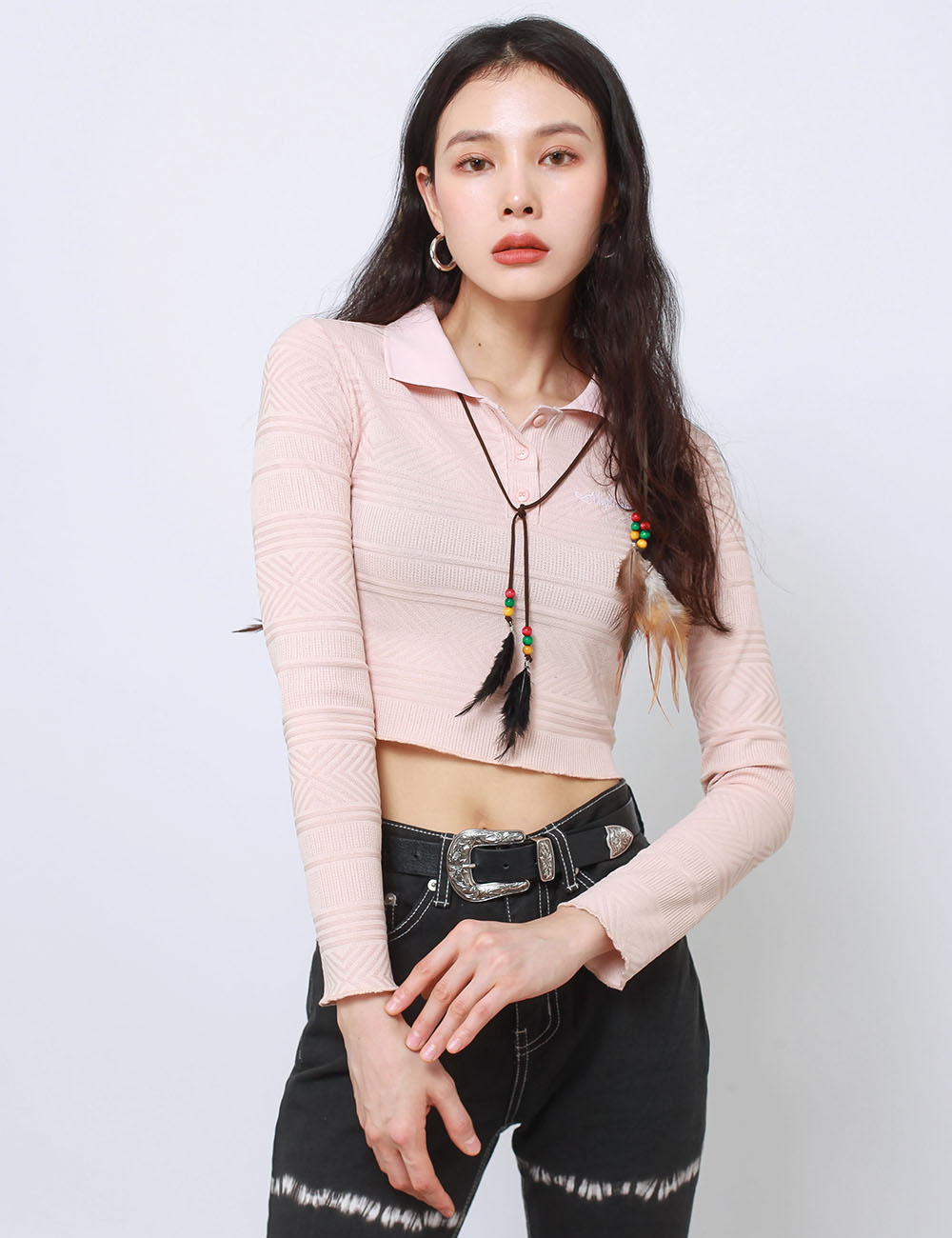 POLO SHIRT CROP CROP TOP(PINK)