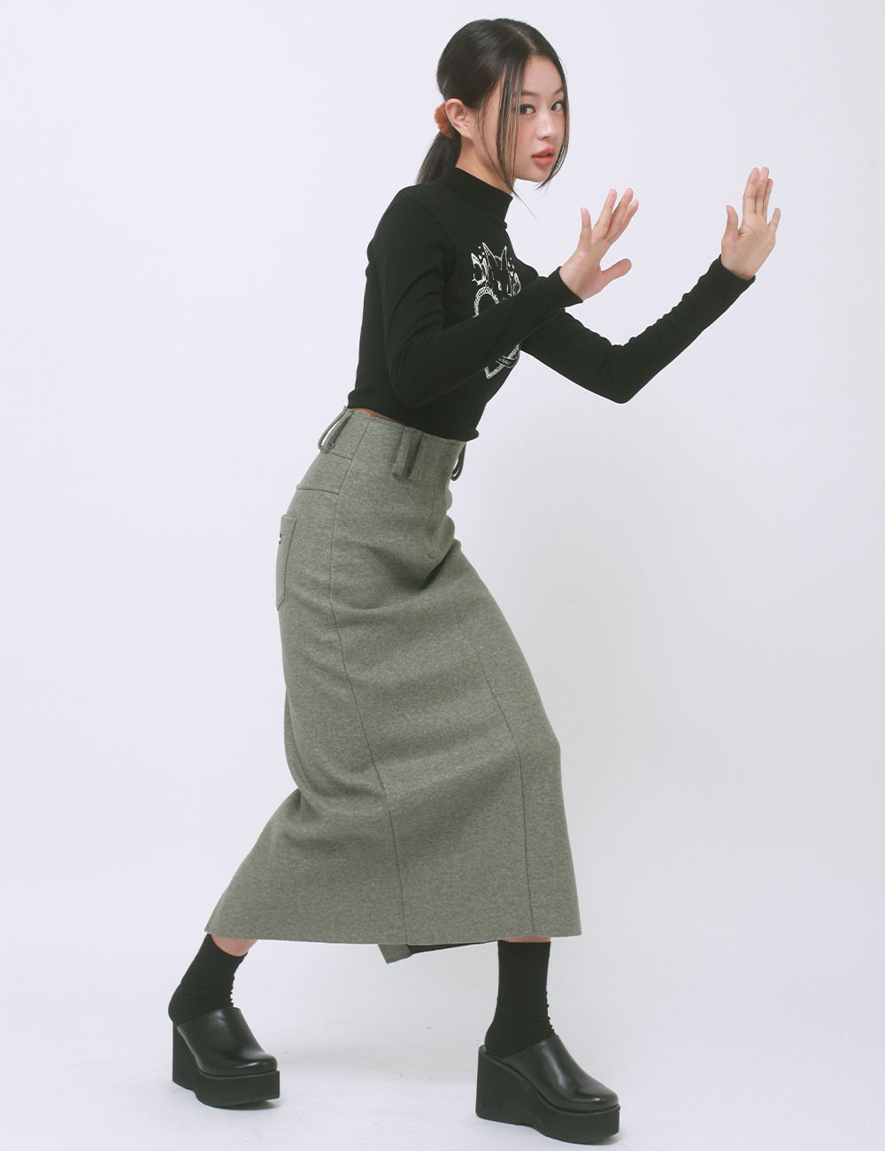 WOOL LONG SKIRT(KHAKI) 2차 재입고