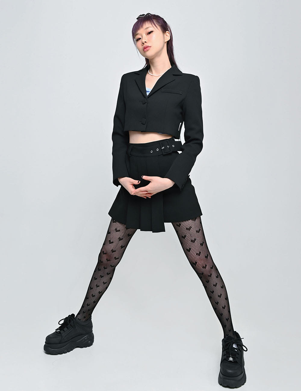 SQUERE FLEAT SKIRT(BLACK)