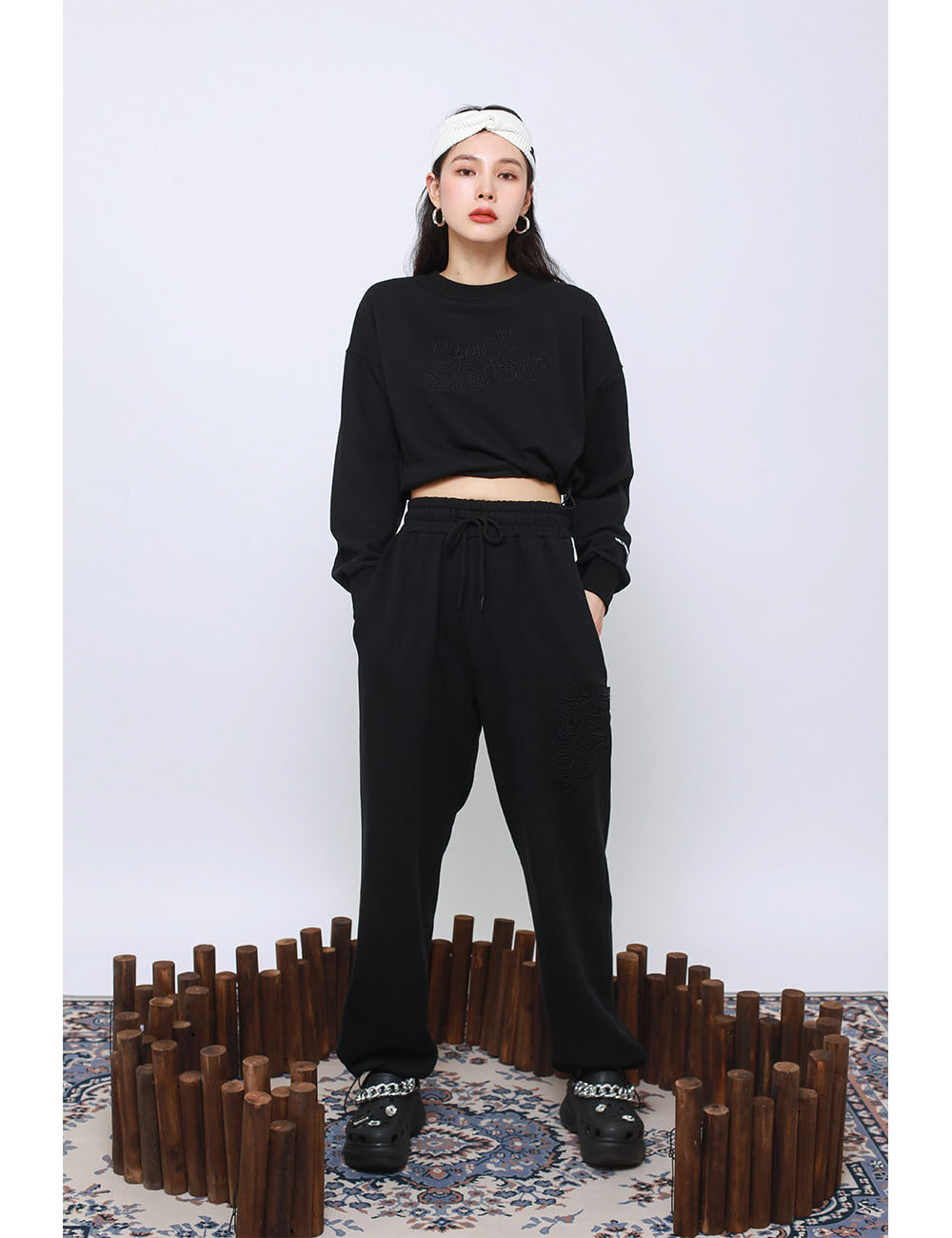 MINI WESTERN PANTS(BLACK)