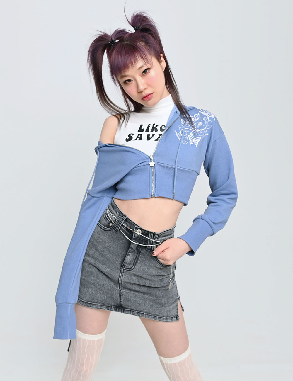 BUTTERFLY HOOD ZIP-UP(BLUE) 2차 재입고